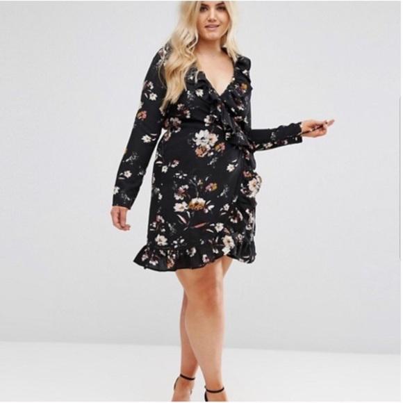ece13859a631 Boohoo Plus Dresses | Boohoo Floral Wrap Dress Size 14 | Poshmark